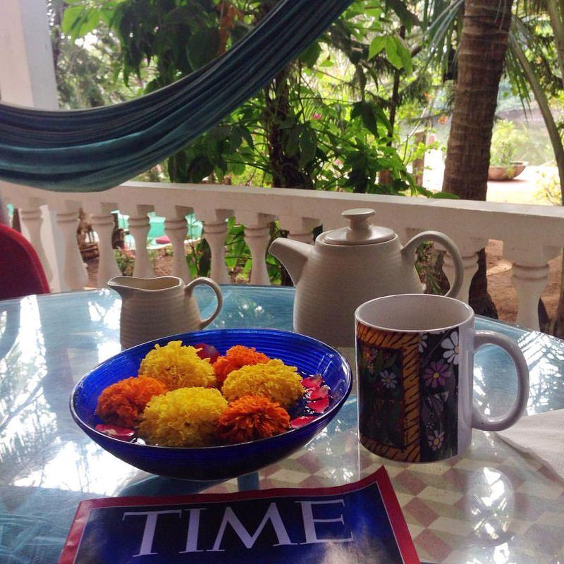Breakfast on the terrace goa india